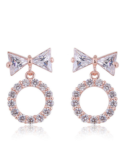 Fashion Rose Gold Bowknot Shape Decorated Earrings