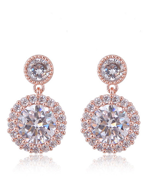 Fashion Rose Gold Round Shape Decorated Earrings