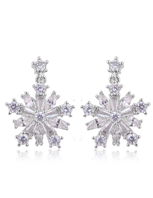 Fashion Silver Color Snowflower Shape Decorated Earrings