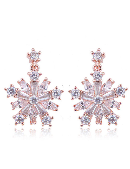 Fashion Rose Gold Snowflower Shape Decorated Earrings