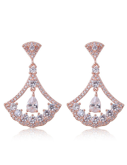 Fashion Gold Color Sector Shape Decorated Earrings