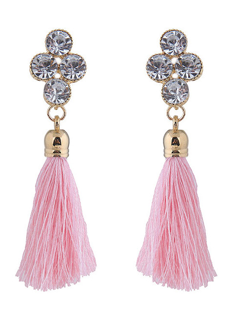 Elegant Pink Diamond Decorated Long Tassel Earrings