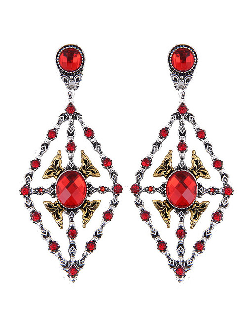 Elegant Red Rhombus Shape Design Hollow Out Earrings