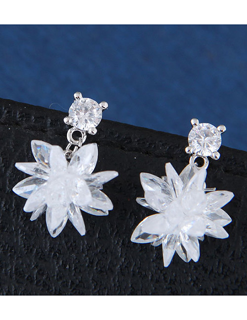 Sweet Silver Color Flower Shape Design Pure Color Earrings