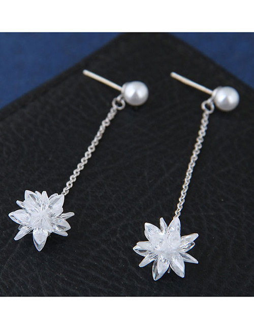 Sweet Silver Color Pearls&flower Decorated Long Earrings