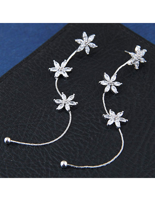 Sweet Silver Color Flowers Decorated Long Tassel Earrings