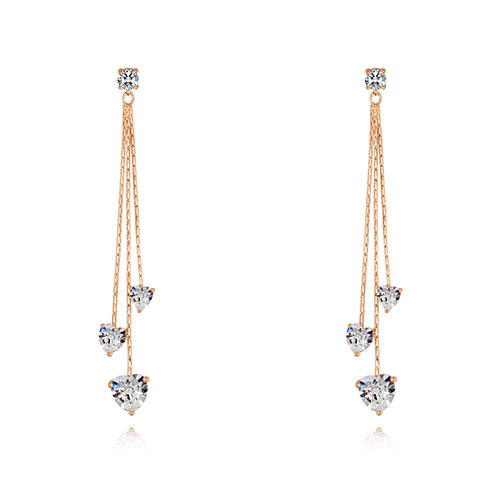 Fashion Champagne Heart Shape Decorated Long Earrings
