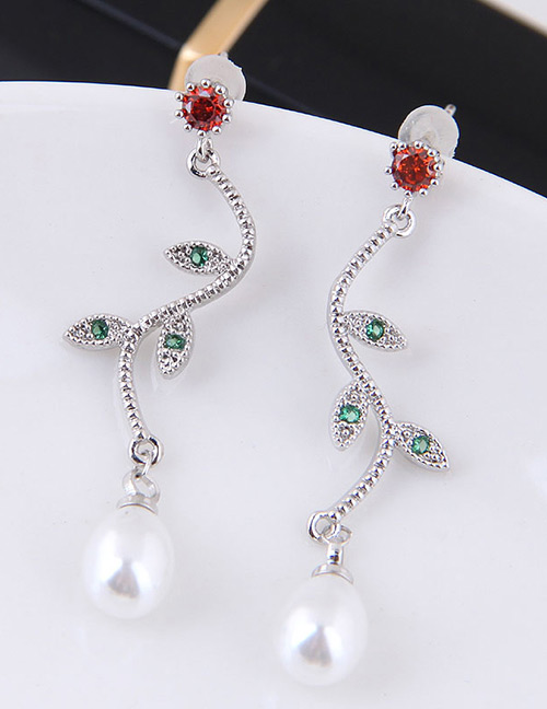 Fashion Red+green Leaf Shape Decorated Earrings