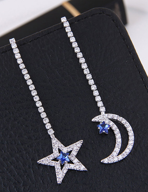 Fashion Silver Color+blue Star&moon Shape Decorated Earrings