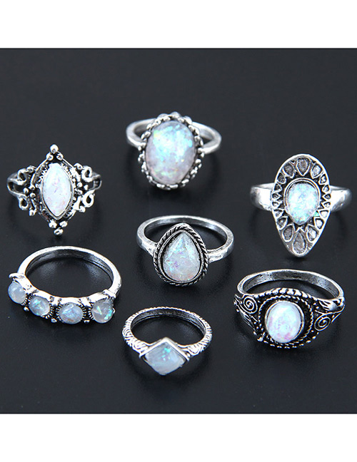 Fashion Antique Silver Oval Shape Gemstone Decorated Ring(7pcs)
