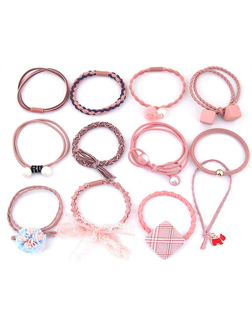 Lovely Pink Bowknot&flower Decorated Hair Band(12pcs)