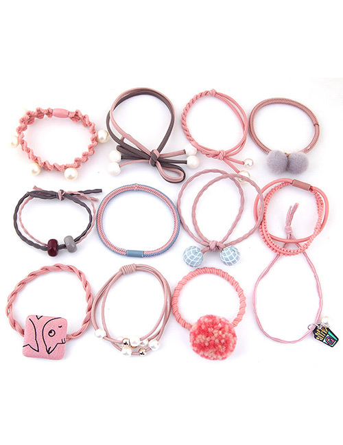 Lovely Pink+gray Pearls&fuzzy Balls Decorated Hair Band(12pcs)