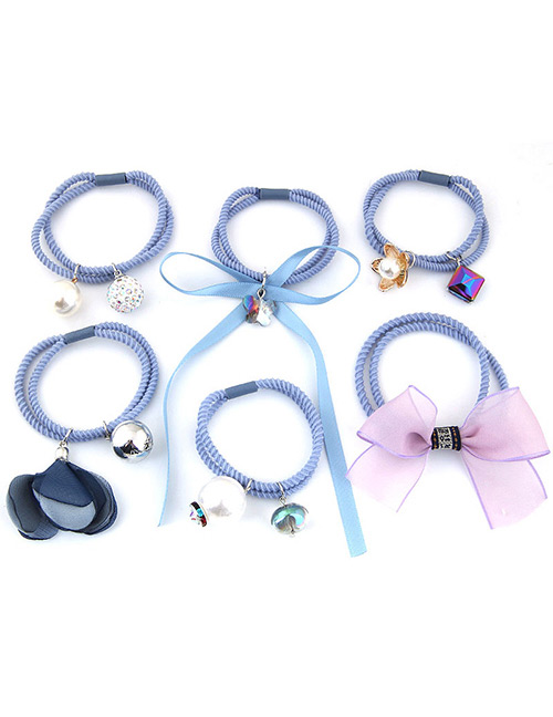 Lovely Blue Bowknot&pearls Decorated Hair Band(6pcs)