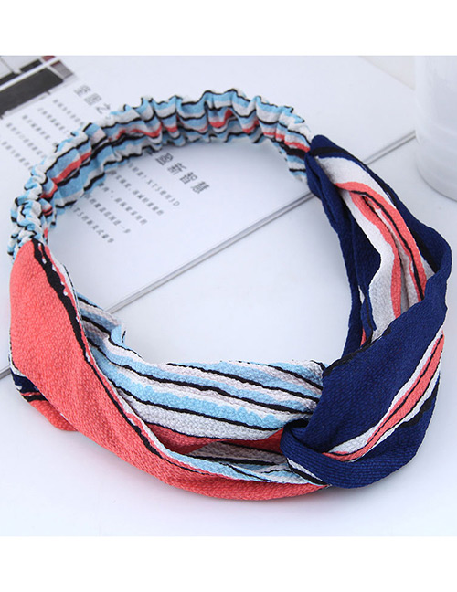 Sweet Blue+red Stripe Pattern Decorated Hair Band
