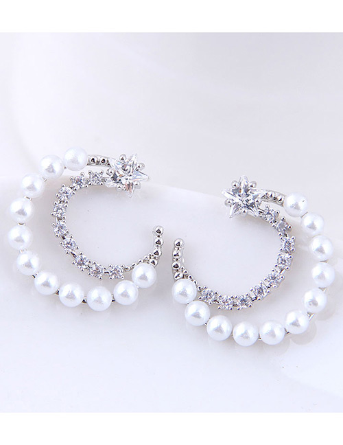 Fashion Silver Color Moon Shape Decorated Earrings