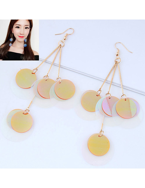 Fashion Khaki Round Shape Decorated Paillette Earrings