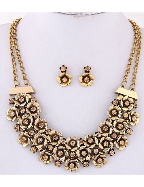 Simple Gold Color Flower Shape Decorated Jewelry Set