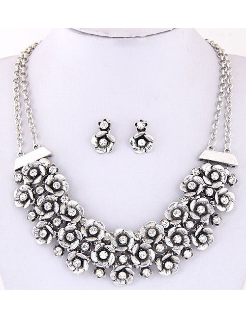 Simple Silver Color Flower Shape Decorated Jewelry Set