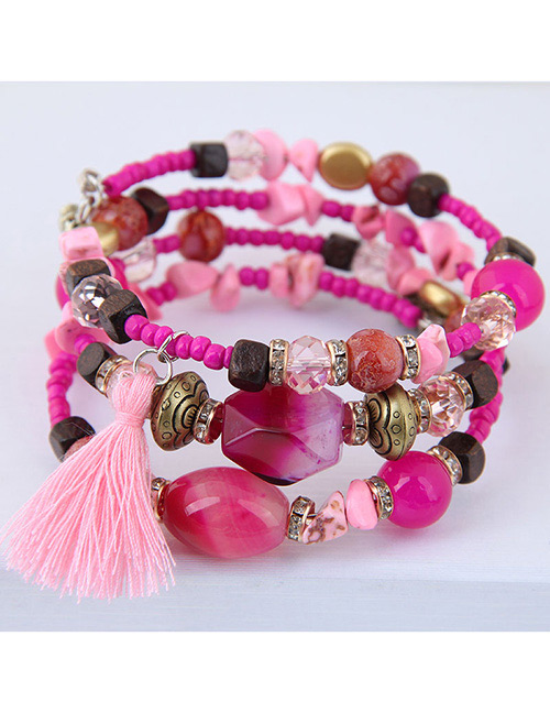 Fashion Plum Red Tassel Decorated Multi-layer Bracelet