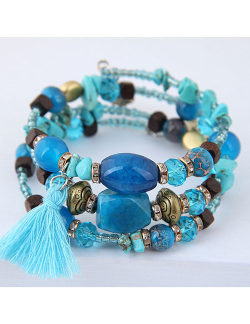 Fashion Blue Tassel Decorated Multi-layer Bracelet