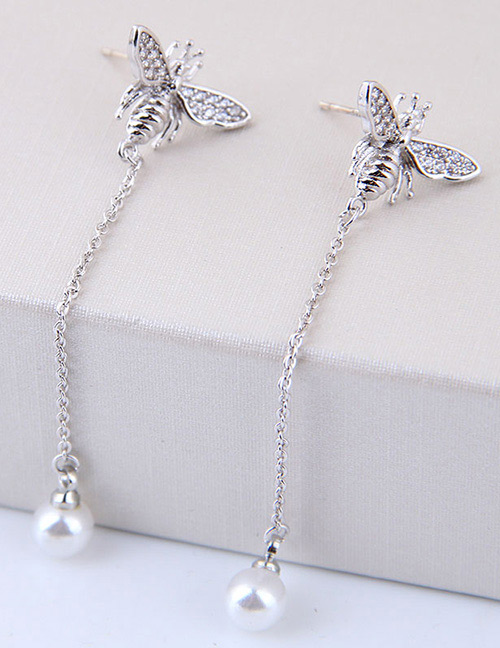 Fashion Silver Color Ladybug Shape Decorated Earrings