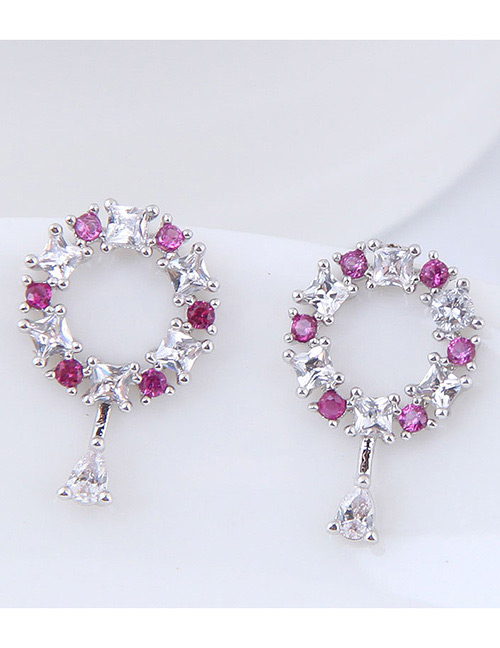 Fashion Silver Color+plum Red Round Shape Decorated Earrings