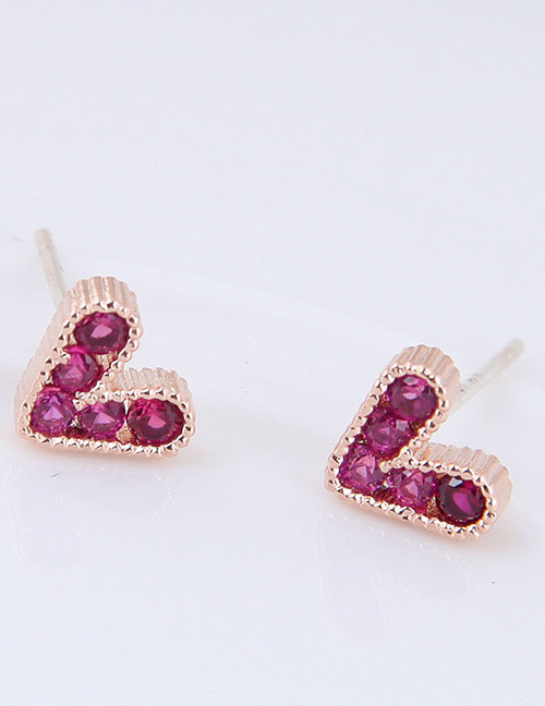 Fashion Plum Red Heart Shape Decorated Earrings