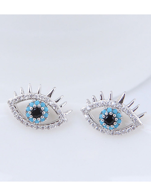 Fashion Silver Color Eye Shape Decorated Earrings