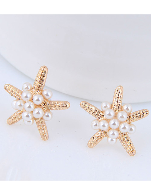Elegant Gold Color Starfish Shape Design Pure Color Earrings