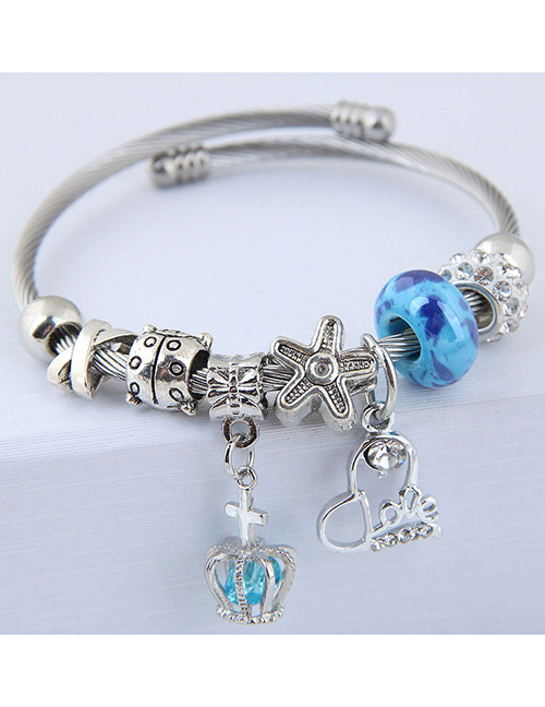 Fashion Blue Crown Shape Decorated Bracelet