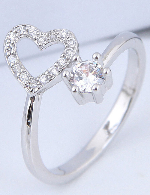 Simple Silver Color Heart Shape Decorated Ring