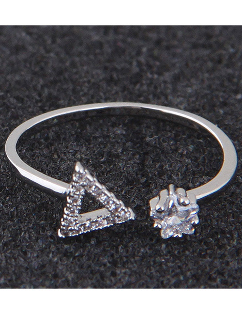 Simple Silver Color Triangle Shape Decorated Ring