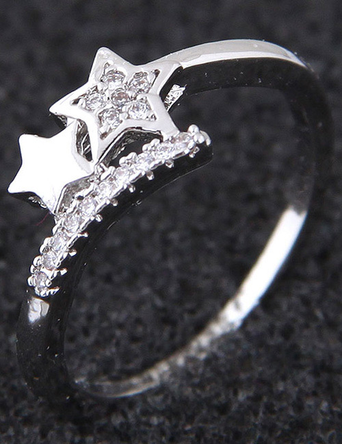Simple Silver Color Star Shape Decorated Ring