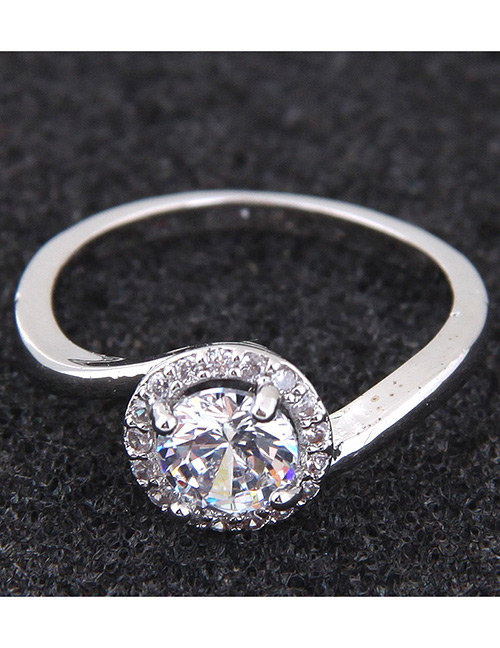 Simple Silver Color Round Shape Decorated Ring