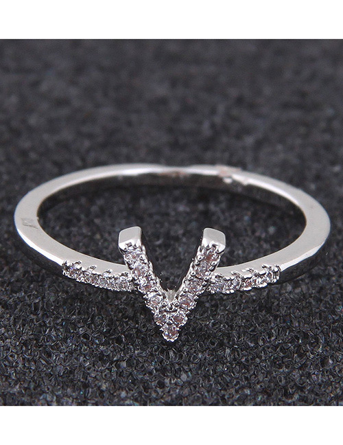 Simple Silver Color Letter V Shape Decorated Ring
