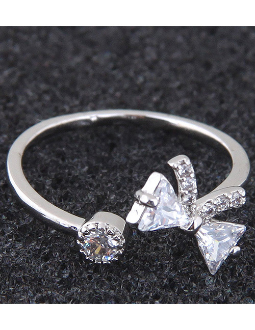 Simple Silver Color Bowknot Shape Decorated Ring