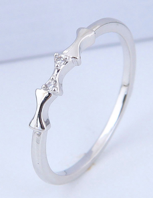 Simple Silver Color Bone Shape Decorated Ring