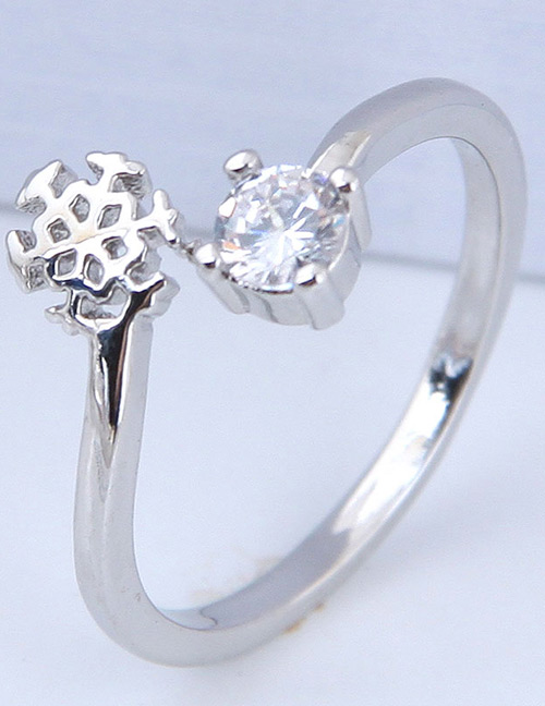 Simple Silver Color Snowflower Shape Decorated Ring