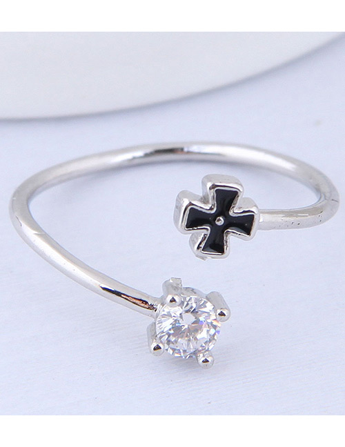 Simple Silver Color+black Clover Shape Decorated Ring