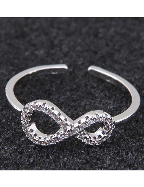 Simple Silver Color Symbol 8 Shape Decorated Ring