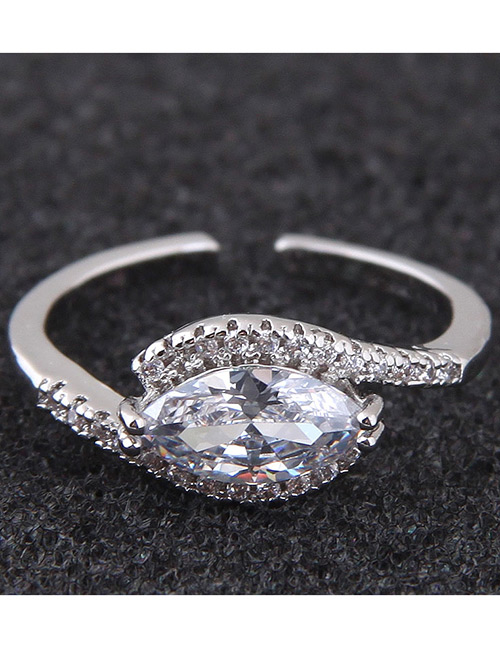 Simple Silver Color Diamond Decorated Ring