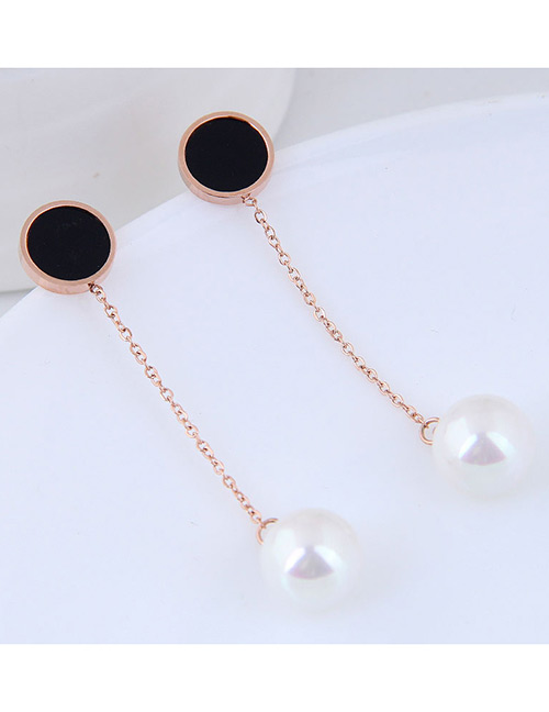 Fashion Rose Gold+white Pearl Decorated Earrings