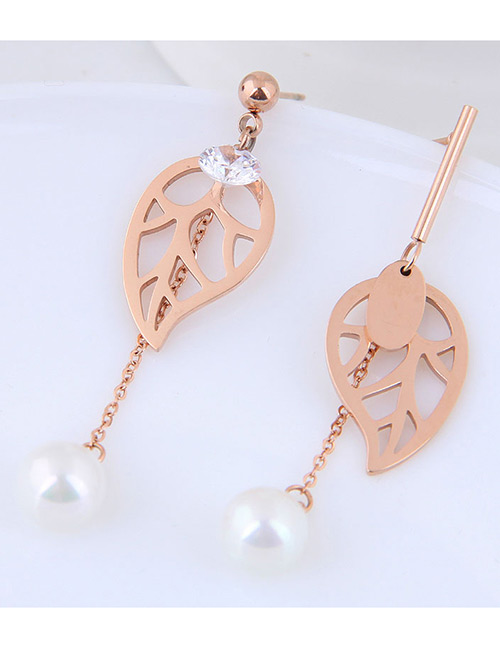 Fashion Rose Gold Leaf Shape Decorated Hollow Out Earrings