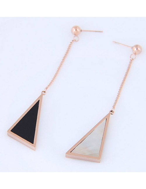 Fashion Black+rose Gold Triangle Shape Decorated Earrings