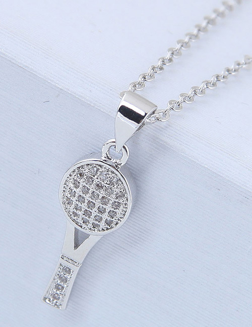 Elegant Silver Color Racket Shape Decorated Necklace