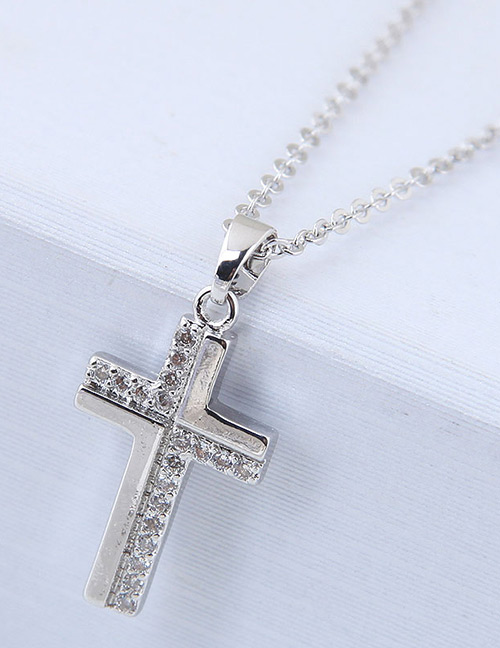 Elegant Silver Color Cross Shape Decorated Necklace