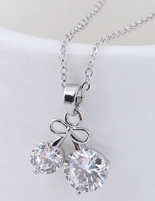 Elegant Silver Color Cherry Shape Decorated Necklace