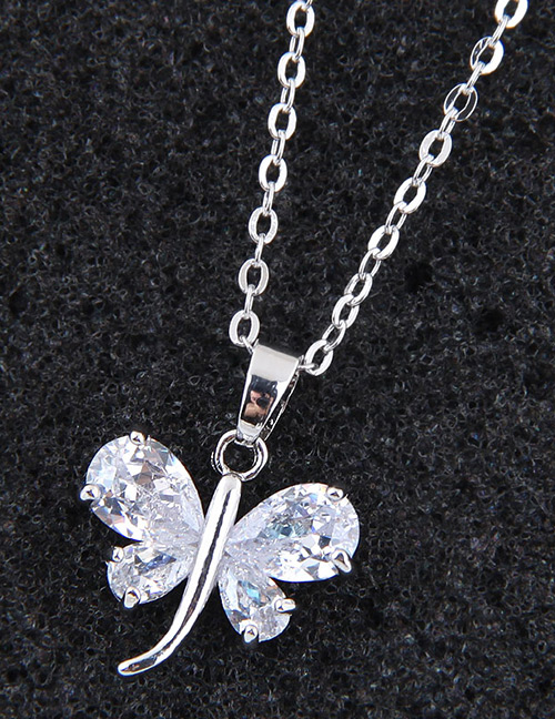 Elegant Silver Color Dragonfly Shape Decorated Necklace