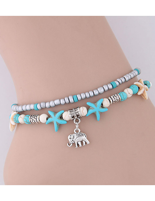 Elegant Blue+silver Color Starfish&elephant Pendant Decorated Anklte