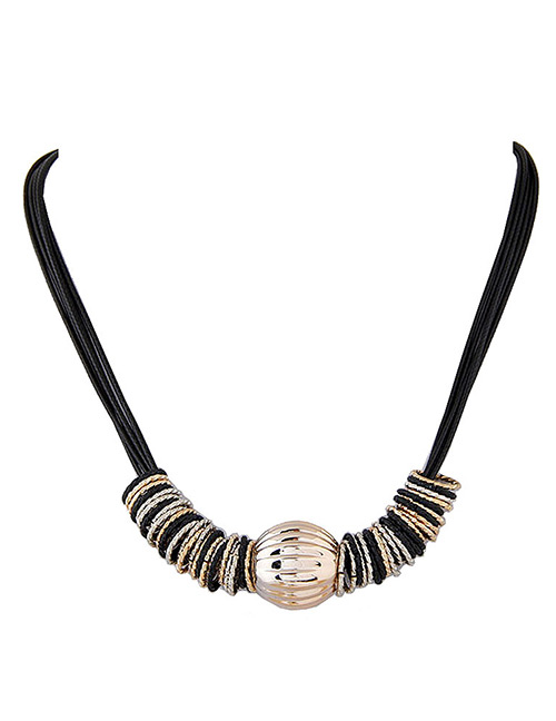 Fashion Gold Color+black Circular Rings Decorated Simple Necklace